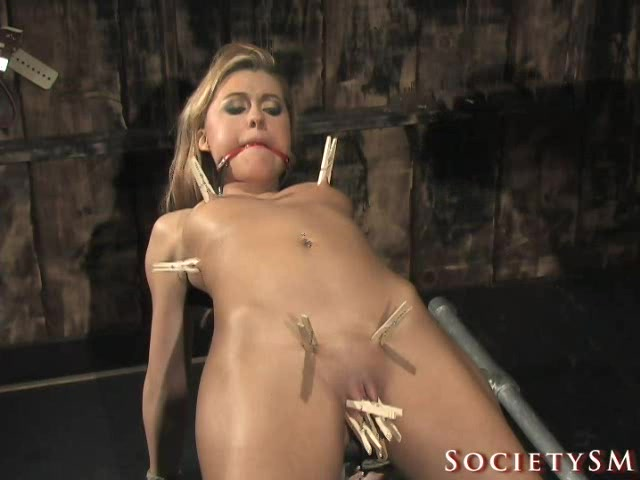 Skinny blonde bondage torture